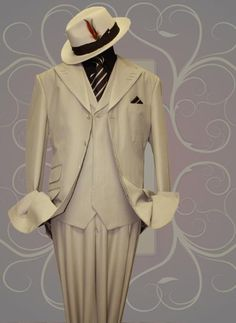 Dons white suit and white fendora Zoot Suits, Mens Suits, Sharp Dressed Man, Well Dressed Men, Dress Hats, Men Dress, Discount Suits, Black Suit Men, Designer Suits For Men