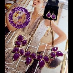 Lilac Shimmer Necklace Set-HOST PICK This beautiful set features purple cabochons on gold tone sturdy chain, includes 1 inch earrings. Measures: 18 inches long. (This closet does not trade or use PayPal) Jewelry Necklaces