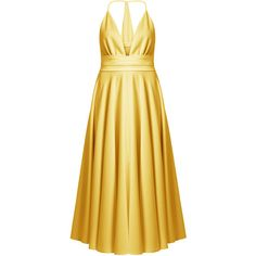 Racil Bianca halterneck satin dress ($645) ❤ liked on Polyvore featuring dresses, gold, halter cocktail dress, v neck halter dress, v-neck dresses, beige cocktail dress and fit and flare dress