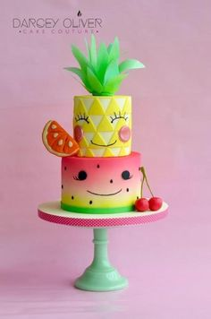 Tutti Frutti - Cake by Darcey Oliver Cake Couture (Cake Girl) Tutti Frutti - Kuchen von Darcey Watermelon Cake, Pineapple Cake, Fruit Birthday, 2nd Birthday Parties, Girl Birthday Cakes, Decors Pate A Sucre, Couture Cakes, Summer Cakes, Fruit Party