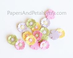 16 Handmade MINI Paper FLOWERS with Pearl Centers