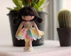 Crochet girl doll от FairyFinFin (10 cm) ♡