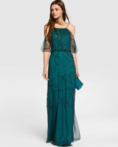 Vestido de Fiesta de Tintoretto (30 TINTORETTO (ECI)), largo Fashion Dresses, Cold Shoulder Dress, Teal, Gowns, Party Dresses, Wedding Dresses, Fiestas, Dresses, Trendy Dresses