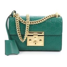 Pre-Owned Gucci Padlock Shoulder Bag Guccissima Leather Small ($1,230) ❤ liked on Polyvore featuring bags, handbags, shoulder bags, green, green leather handbag, genuine leather shoulder bag, chain strap purse, green leather shoulder bag and gucci handbags
