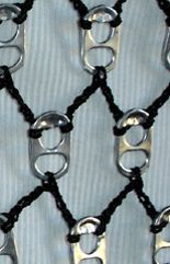 polypropylene thread and poptabs Can Tab Crafts, Soda Can Crafts, Bottle Cap Art, Bottle Cap Crafts, Pop Can Tabs, Soda Tabs, Recycle Cans, Pop Cans, Creation Deco