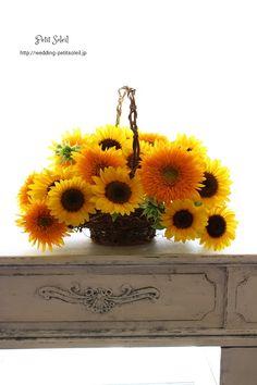 ひまわり バスケットブーケ basket bouquet sunflowers