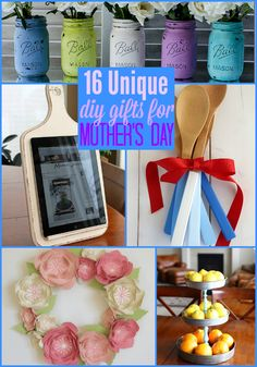 16 Unique DIY Gifts for #MothersDay {The Weekly Round UP} - This Silly Girl's Life  #MothersDay Diy Gifts For Mothers, Mothers Day Crafts, Mother Gifts, Diy Home Crafts, Holiday Crafts, Crafts For Kids, Mom Day, Inexpensive Gift, Grandparents Day