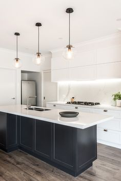 Kitchen Designs Melbourne: This stunning kitchen, bathroom and ensuite renovation showcase the design and project management of. Modern Shaker Kitchen, Mid Century Modern Kitchen, Modern Kitchen Design, Kitchen Designs, Home Decor Kitchen, Kitchen And Bath, Kitchen Furniture, Kitchen Interior, White Wood Kitchens