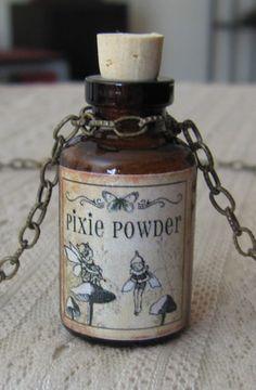 Pixie Powder Potion Poison Bottle Necklace Pendant Apothecary Vial