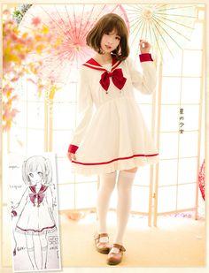 Cosplay red sailor dress long sleeves lolita dress free shipping - Thumbnail 1
