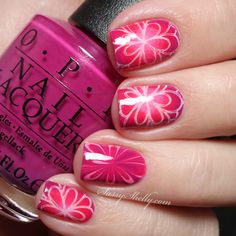 Pretty Pink OPI Nail Art - Radial Gradient and Watermarble manicure featuring UberChic stamping + a video TUTORIAL | Sassy Shelly