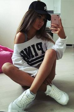 white cropped sweatshirt + white sneakers | lookbook