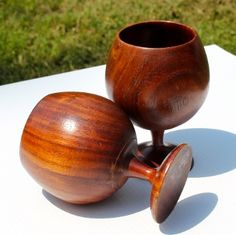 Set of 2 Unique Solid Wood Cups Lathe Turned Mahogany Goblet Lot