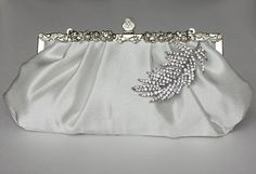 Bridal Clutch - silver-ivory satin with Swarovski Crystal feather brooch- Holiday sale - ready to ship on Etsy, $69.00