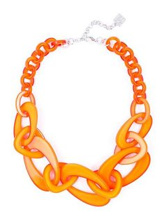 Mod Resin Links Necklace orange