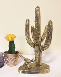 Vintage Brass Cactus and Roadrunner, Southwest Decor, Desert Decor, Saguaro Cactus, Cacti, Modern, Desert Animals Plants Bird Figurine, Boho by hollydollyvintageky on Etsy https://www.etsy.com/listing/522292325/vintage-brass-cactus-and-roadrunner
