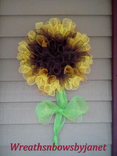 Spring summer sunflower deco mesh wreath. $60.00, via Etsy.