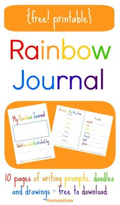 Rainbow theme printable journal pages for kids