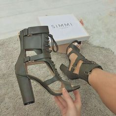 Lace UP Ankle Wraps Open Toe High Chunky Heels Sandals – MeetYoursFashion Crazy Shoes, Me Too Shoes, Heeled Boots, Shoe Boots, Fashion Online Shop, Shoes Sneakers, Shoes Heels, Hot Shoes, Cute Heels