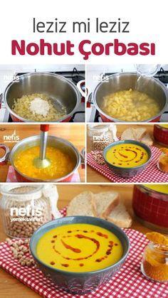 Nohut Çorbası (videolu) - Nefis Yemek Tarifleri Chickpea Soup (with video) - Yummy Recipes, the Yummy Recipes, Best Soup Recipes, Yummy Food, Healthy Recipes, Chickpea Recipes, Vegetable Soup Healthy, Healthy Vegetables, Marinated Tomatoes, Kitchens