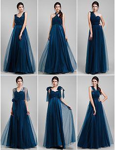 una línea de vestidos convertibles palabra de longitud tul (1739560) - USD $ 99.99