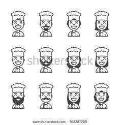 Cartoon chef icon set. Cook,baker