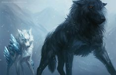 """Wolves / """"The ice was spreading but they kept going on. There was a rumor about someone who could lift the curse, but the one leading felt his hope wither..."""" (Cursed by Kipine.deviantart.com on @DeviantArt)"""