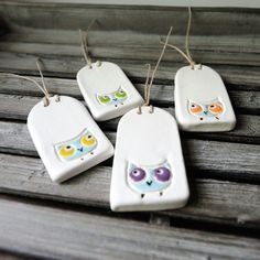 Ceramic Clay Tags with Owls