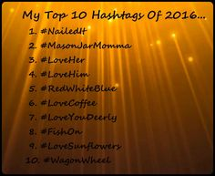 My personal top 10 hashtags of 2016... nailed it, mason jar momma, love her, love him, red white blue, love coffee, love you deerly, fish on, love sunflowers, wagon wheel.~ Quotes, Everything, Nailed It