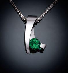green topaz pendant, green topaz necklace, silver necklace, Argentium silver pendant, modern necklace, artisan jewelry - 3451