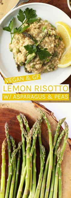 Spring is here! Enjoy the early spring vegetables in this lemon risotto with asparagus and peas. Vegan and Gluten-free! #vegetarianpastadishes