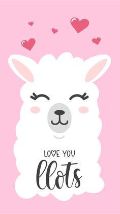 Love you llots llama quote with doodles. llama motivational and inspirational vector poster. Wallpapers Tumblr, Cute Wallpapers, Wallpaper Backgrounds, Iphone Wallpaper, Alpacas, Llama Drawing, Llama Arts, Llama Face, Do It Yourself Baby