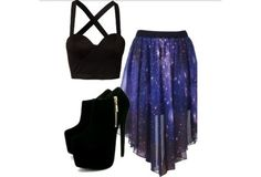 I found 'Galaxy Outfit' on Wish, check it out! Different shoes though Teen Fashion Outfits, Mode Outfits, Look Fashion, Outfits For Teens, Dress Outfits, Girl Outfits, Summer Outfits, Casual Outfits, Fashion Dresses