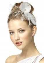 Dessy Feather Flower Blusher Headpiece Bridesmaid Accessories in Ivory