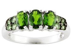 1.19ctw Oval Russian Chrome Diopside With .24ctw Round Mint Tsavorite Sterling…