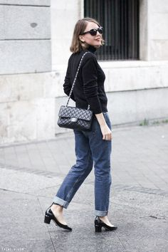 Trini | Petit Bateau turtleneck MiH Jeans Valentino mid heel Tango pumps Chanel cassic flap bag