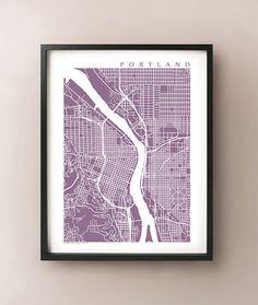 Portland Map Print - Oregon Art Poster - Keep Portland Weird - Pacific Northwest, Portland State University