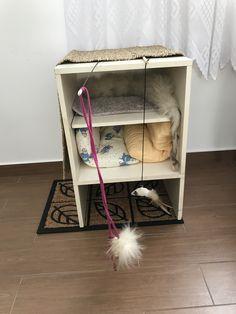 Použita stará skříňka, staré kusy koberce, rohožka jako škrabadlo, hračky na špagátu a na gumičce na hraní a běhoun z rákosu přes skříňku na škrábání. Wardrobe Rack, Magazine Rack, Cabinet, Storage, Furniture, Home Decor, Clothes Stand, Homemade Home Decor, Larger