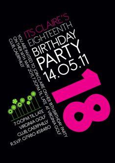 18th Birthday Invitation Invite Pink Graphics Creative Design