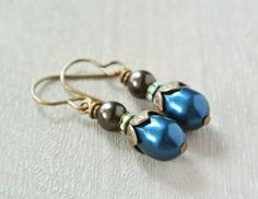 Dark Teal Earrings with Brown Pearls on Wire by happylittlegems, $18.00