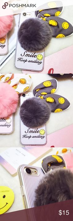 iPhone 7 plus smile rabbit furry Pom phone case ▶️brand new and high quality  ▶️hard phone case ▶️to protect your phone from shock and friction, anti-vibration and prevent breaking  ▶️precisely cut openings to allow full access to all the functions your iPhone 7 plus ▶️easy to install and disassemble Accessories Phone Cases