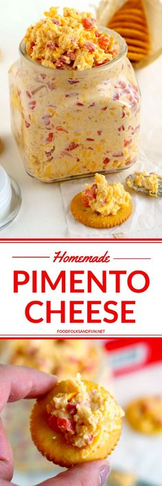This recipe for Pimento Cheese the southern classic is simple. This recipe for Pimento Cheese the southern classic is simple portable and some serious comfort food. Its perfect for snacks or as an appetizer when entertaining! Homemade Pimento Cheese, Pimento Cheese Recipes, Pimiento Cheese, Cheese Food, Pawleys Island Pimento Cheese Recipe, Cheddar Cheese, Cheese Snacks, Cheese Dishes, Appetizer Recipes