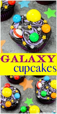 DIY Galaxy Cupcakes are easy to make and perfect for a space themed birthday party. These space solar system cupcakes are fun for kids to make too! DIY Galaxy Cupcakes are easy Space Cupcakes, Kid Cupcakes, Themed Cupcakes, Alien Cupcakes, Cupcakes Design, Birthday Desserts, Birthday Party Favors, 5th Birthday, Birthday Decorations