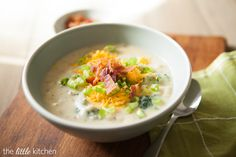 Loaded Baked Potato Soup - start by baking the potatoes, recipe includes broccoli & sour cream in the soup!