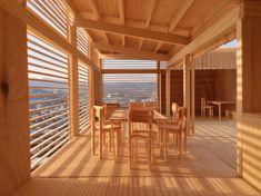 Pinewood Cabin Dining Room view over Stuttgart [OC][3161x2370]