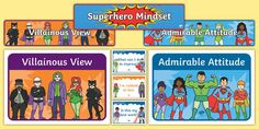 This Superhero Themed Growth Mindset Display Poster Pack contains all you need to develop a feature wall aimed at improving your students' mental wellbeing. Growth Mindset Display, Growth Mindset Posters, Classroom Organisation, Classroom Management, Learning Resources, Teacher Resources, Display Banners, Whole Brain Teaching, Australian Curriculum