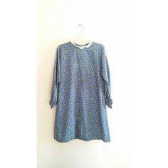 Vintage Blue White Floral Print Babydoll Collared Lounge Love Child Pajamas Dress Sz Large