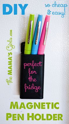 DIY a magnetic pen holder.