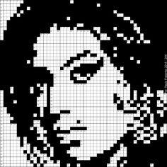 Amy Winehouse, rosto em grelha de Palavras Cruzadas (Pixel Art - crosswords)