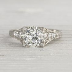 1.68 Carat Vintage Diamond Engagement Ring by ErstwhileJewelry